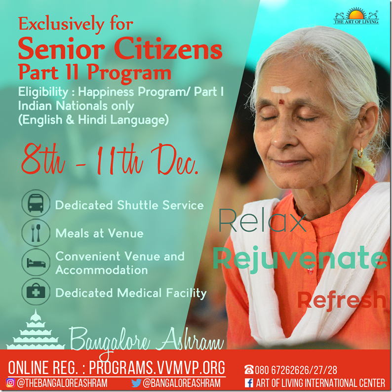 senior citizens meditation programme bangalore ashram