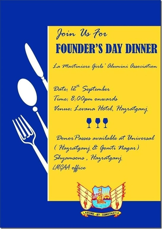 lmgc alumni lmgaa founders day dinner invite 2018 lucknow
