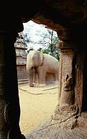 Elephant carved out of a monolithic structure at Mahabalipuram. Built Circa 600 AD
