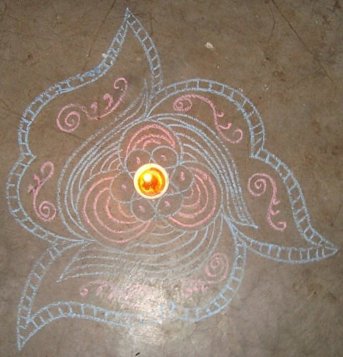 Chalk Rangoli design for Kartik month