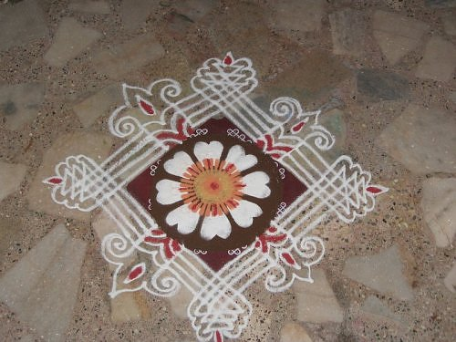 Kolam rangoli alpana design from South India