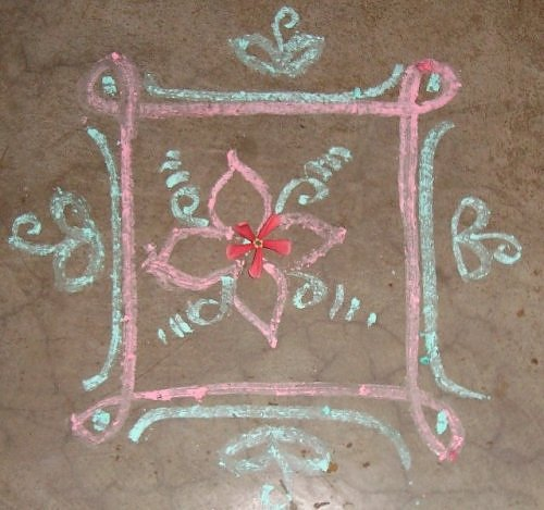 Chalk Kolam Rangoli design for Kartik Tulsi puja