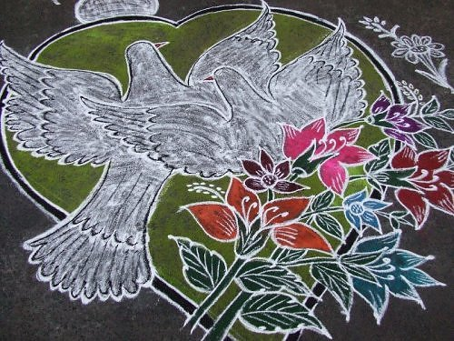 Peace and love kolam rangoli design