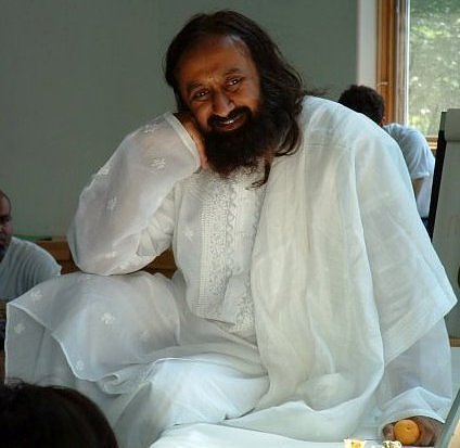 Sri Sri Ravi Shankar in a Chikan embroidery kurta from Lucknow