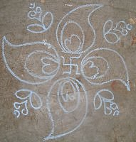 Simple kolam rangoli design