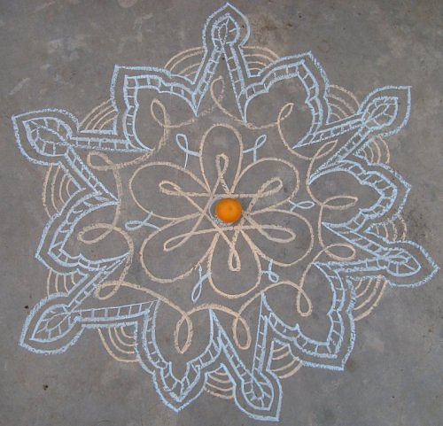 Kolam rangoli design in chalk