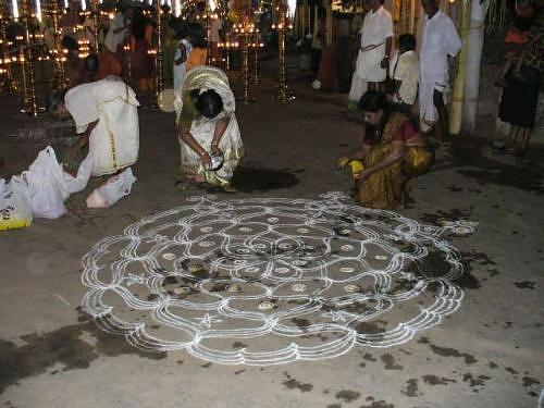 making of a wedding kolam